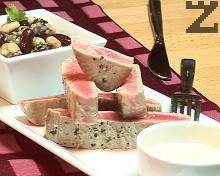 Риба тон с маринован боб и айоли