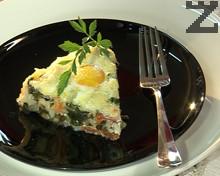 Спанак с ориз и запечени яйца