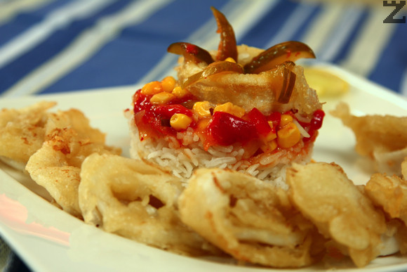 Хрупкави калмари със сладко чили и ориз