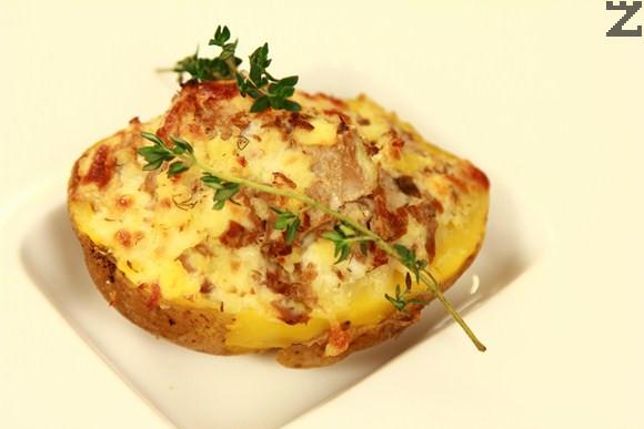 Пълнени картофи с крема сирене и гъби