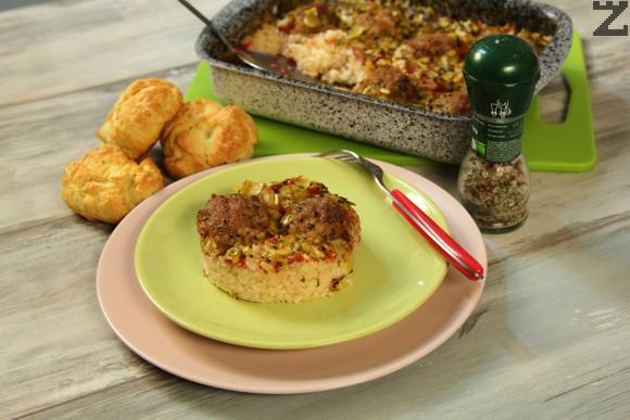 Кюфтета с праз и ориз на фурна