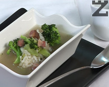 Супа с броколи, ориз и бекон