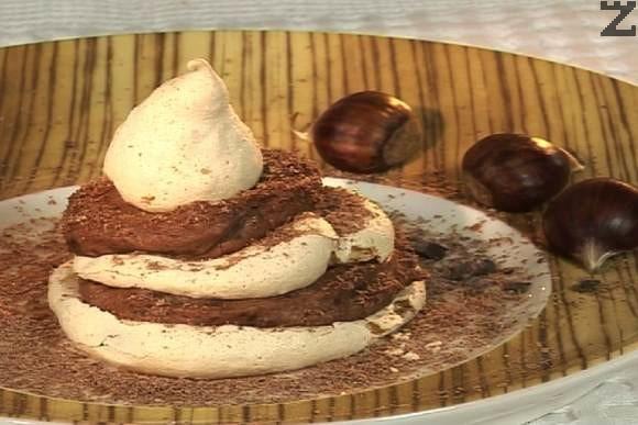 Мон блан - целувки с шоколадов крем и кестени.