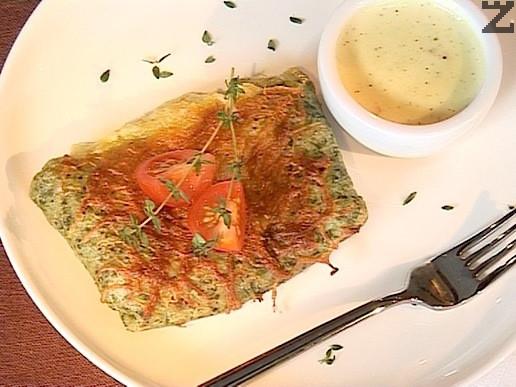 Зелени палачинки с топено сирене и сметана