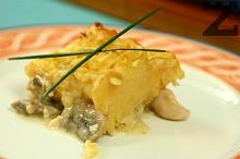 Пилешки хапки с гъби и картофено пюре