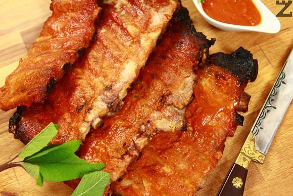 Свински ребърца с барбекю сос на фурна