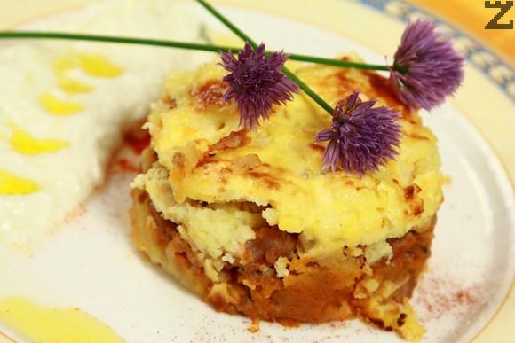Мусака с картофено пюре