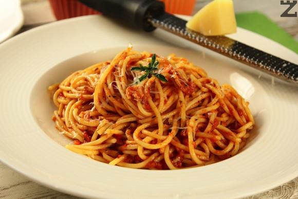 Спагети с шунка и кашкаквал