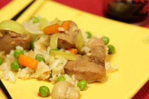 Пиле с ориз и зеленчуци по китайски