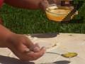 В отделен съд разтопяваме мазнината. Разточваме едно по едно тестените топчета. Поливаме всяко от тях с малко от мазнината и настъргваме сирене.