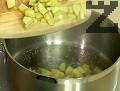 Обелваме и нарязваме на кубчета ябълките. Поставяме ги в тенджерка със захарта и 2-3 с.л. вода. Задушаваме на котлона или в микровълнова фурна, но без да добавяме вода.