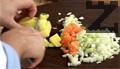 Лука се реже на ситно както и морковите. Добавят се при тиквата. Слага се масло, сол, кимион, червен пипер и зеленчукова подправка. Супата се кипва и се вари на тих огън под капак за 25 минути.