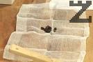 В марля слагаме зрънцата черен пипер и бахар. Завързваме марлята, поставяме при джолана.