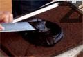 Изсипваме приготвената смес в тава, на дъното на която сме сложили намаслена хартия. Печем около 10-15 минути във фурна, загрята на 180-190 градуса. Оставяме пандишпановата платка да изстине и отлепваме хартията. Разрязваме платката на две части. Едната нарязваме на кротони. Другата намазваме с шо