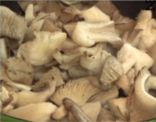 Мием гъби, отстраняваме основата им и ги режем на парченца. Прехвърляме към лука, посоляваме и поръсваме с черен пипер на вкус.