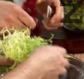 Накъсваме салатата в купа, прибавяме нарязани на ивици морков и тиквичка. Разбъркваме добре.