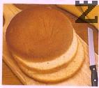 Блата се нарязва на три равни платки ако вече не е нарязан в опаковката. Ако желаете да си приготвите сами пандишпанов блат ето рецепта: http://zvezdev.com/рецепти/меню/десерт/show/торта-бяла-неделя