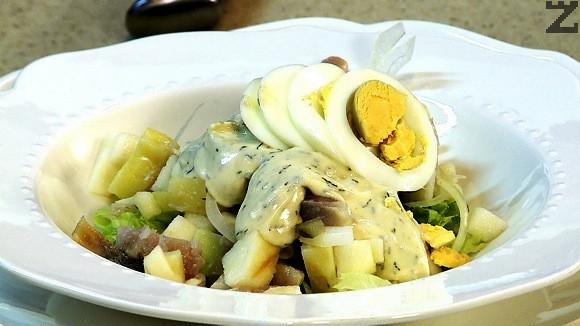 Яйцата се нарязват на колелца и с тях се декорира салатата като се поръсва с още малко сушен копър.
