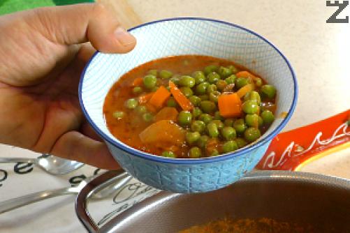 Копърът се наситнява и слага в готовото ястие, след минута се поднася.